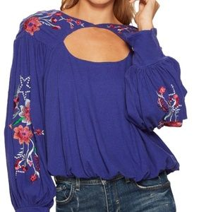 Free People Blue Floral Embroidered Lita Top